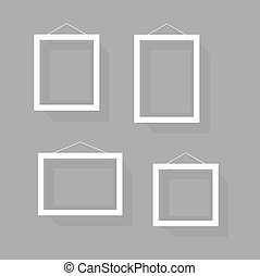 Blank picture frame set on the wall. Template for a content
