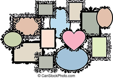 blank picture frame set, vector - blank multiple picture...