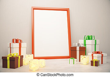 Blank picture frame with gift boxes on white floor, mock up
