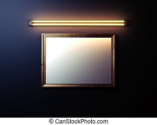 Blank picture frame with glowing lamp on the wall. 3d rendering