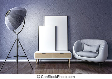 Blank picture frame with interior lamp and chair.