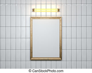 Blank picture frame with lamp on the wall. 3d rendering