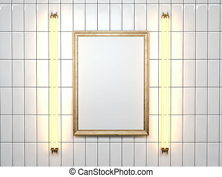 Blank picture frame with lamp on the white wall. 3d rendering