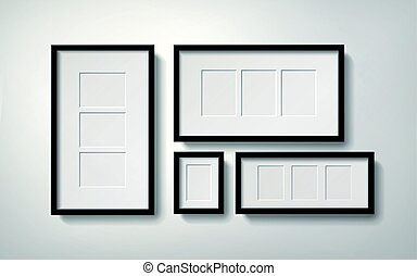 Blank picture frames with several spaces for placing photos,...