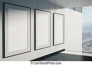 Blank picture frames in room