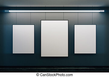 Blank picture frames on black walls with black wooden floor, mock up