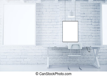 Blank picture frames on white brick wall in white style room with furniture, mock up