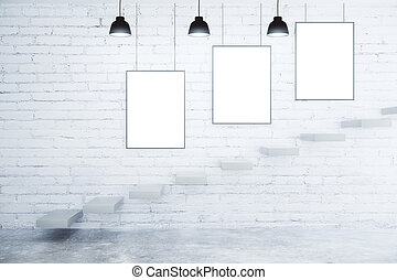 Blank picture frames on white brick wall, lamps and stairs, mock up