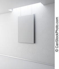 Blank picture on a white wall. 3d.