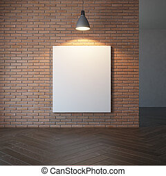 blank picture on the brick wall
