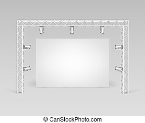 Blank Picture Poster and Spotlights Illumination - Vector...