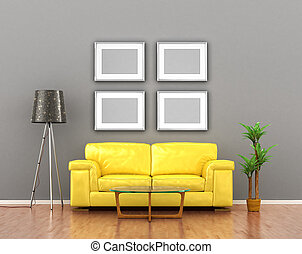 blank pictures on the gray wall weigh over the yellow sofa. 3D illustration