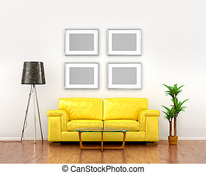 blank pictures on the white wall weigh over the yellow sofa. 3D illustration