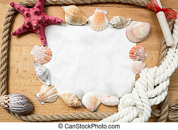 piece of paper with border made from marine knots and seashells