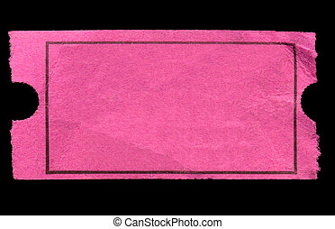 Blank pink admission ticket, isolated on a black background.
