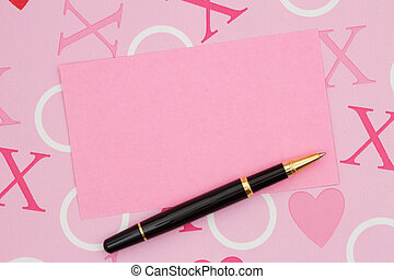 Blank pink card on love paper