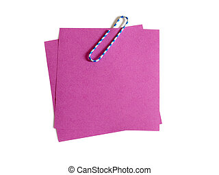 Blank pink notes with clip