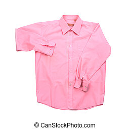 Blank pink shirt isolated on white background