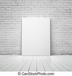 placard - blank placard in a concrete room