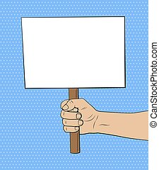 Blank placard in hand illustration in comic style