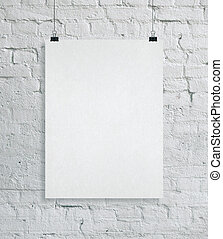 Blank placard on brick wall. Gallery, art, exhibit and museum concept. Mock up, 3D Rendering