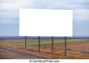 blank, plakattavle, ophoben, af, den, vejbane