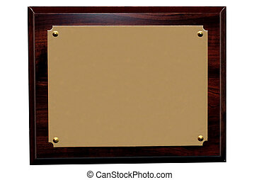 Blank Plaque - Blank plaque for copy space.  Clipping path.