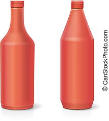 Blank plastic red ketchup bottle for isolated on white background Vector set