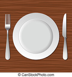 Blank Plate, Fork and Knife on Old Wooden Table