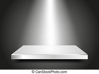 Background abstract for exhibit in virtual space. Blank podium 3D with light from the top. Vector Presentation template for your product. Editable.