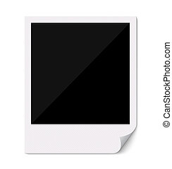 Blank polaroid photo frame with curved corner - Blank retro...