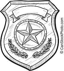 Blank police or firefighter's badge - Doodle style police or...