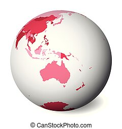 Blank political map of Australia. 3D Earth globe with pink map. Vector illustration