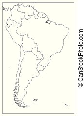 Blank political map of South America. Simple flat vector outline map