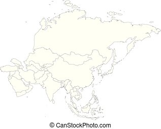 Outline Map Of Asia Continent.Political Outline Map Of Asia Continent Vector Illustration