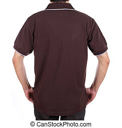 blank polo shirt (back side) on man - blank brown polo shirt...