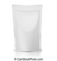 Blank foil or polythene bag for food: coffee, cocoa, sweets, olives, sauce. Packaging collection. Vector illustration.