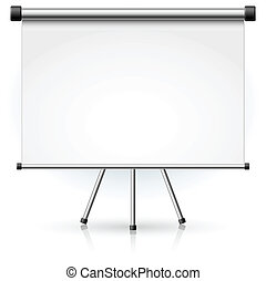 Blank portable projection screen over white background for ...
