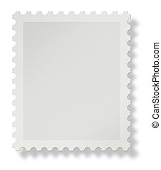 Blank postal stamp with soft shadow on white background, add your own design