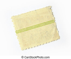 Blank postage stamp with 3 green stripes