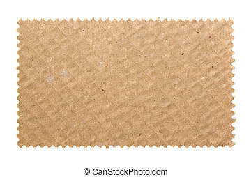 Blank postage stamp with cardboard