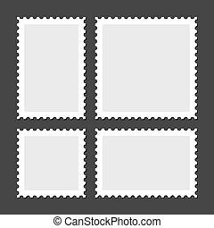 Blank Postage Stamps Set on Dark Background.