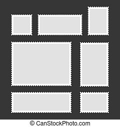Blank Postage Stamps Set on Dark Background. Vector