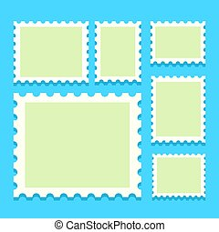 blank postage stamps, templates with place for your images. ...