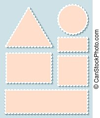 Blank postage stamps vector set isolated.