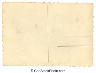 Blank postcard - Old empty postcard isolated on white