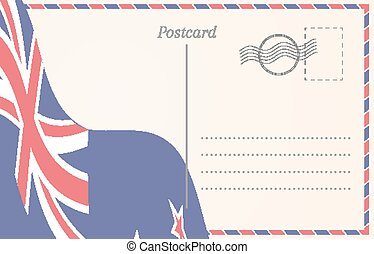 Blank postcard with New Zealand flag on background.