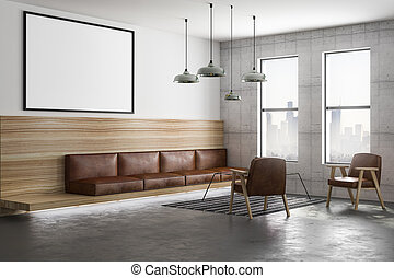 blank poster and brown furniture