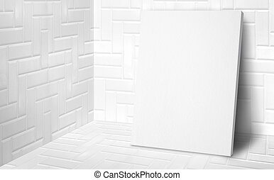 Blank poster at corner studio room with white tiles wall and floor background, Mock up studio room for display or montage of product for advertising on media, Business presentation