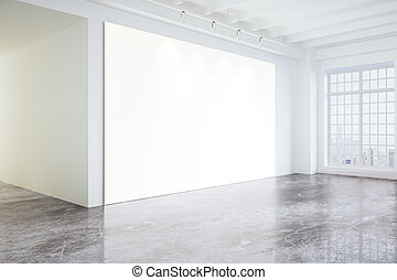 Blank poster in light modern loft gallery with big windows and concrete floor, mock up